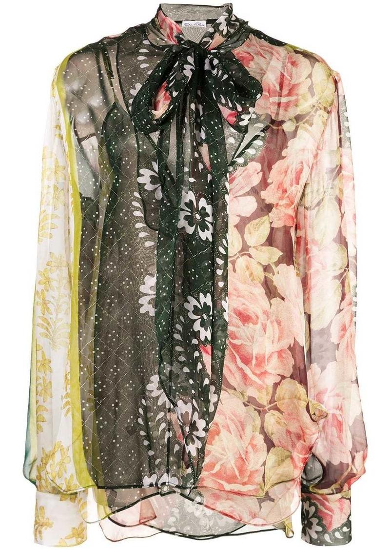 Oscar de la Renta floral print bow tie blouse