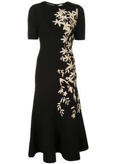 Oscar de la Renta floral print knitted midi dress