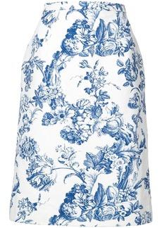 Oscar de la Renta floral print midi skirt