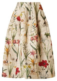 Oscar de la Renta Floral-print Silk-blend Midi Skirt