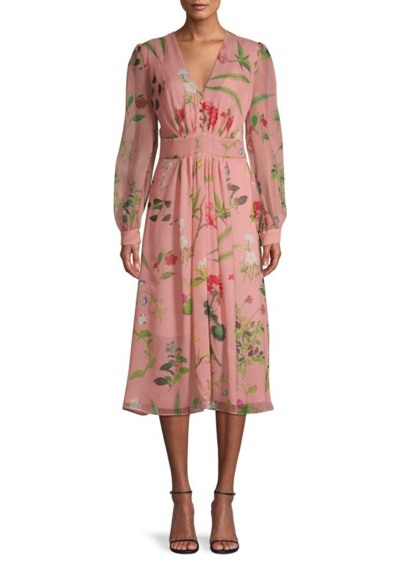 Oscar de la Renta Floral-Print Silk Dress
