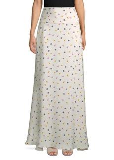 Oscar de la Renta Floral-Print Silk Floor-Length Skirt