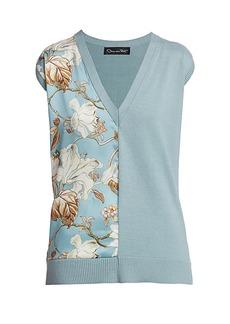 Oscar de la Renta Floral Silk & Knit Tee