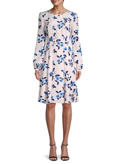 Oscar de la Renta Floral Silk A-Line Dress