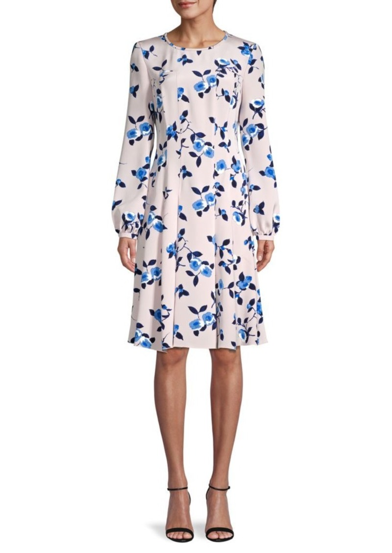 Oscar de la Renta Floral Silk A-Line Dress