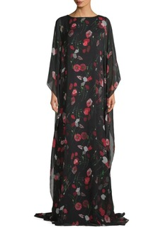Oscar de la Renta Floral Silk-Blend Maxi Dress