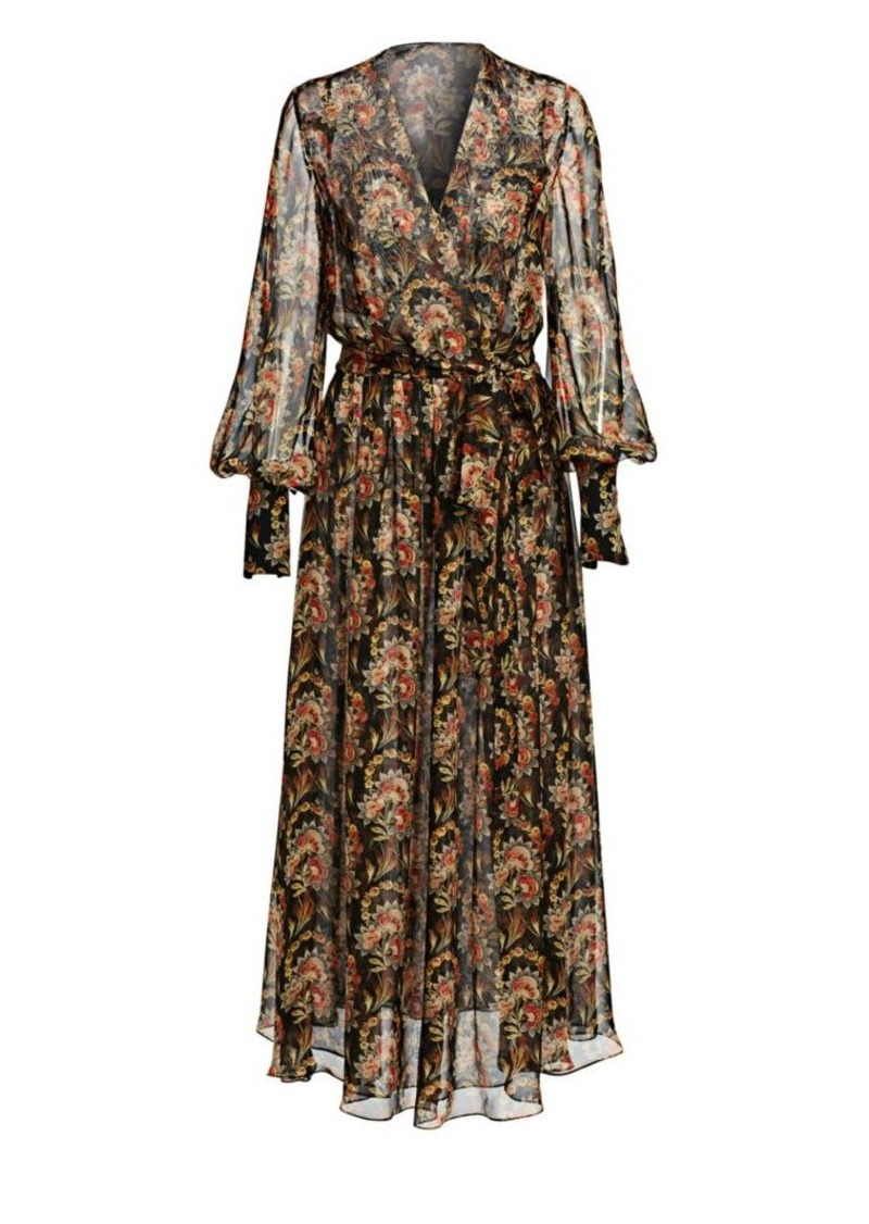 Oscar de la Renta Floral Silk Long-Sleeve Wrap Dress