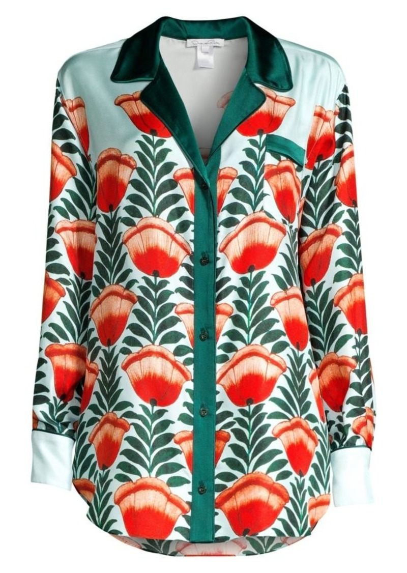 Oscar de la Renta Floral Silk Sleepshirt