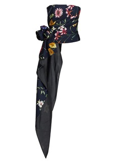 Oscar de la Renta Floral Strapless Draped Cascade Top
