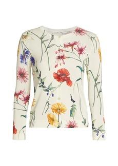 Oscar de la Renta Floral Three-Quarter Sleeve Knit Cardigan