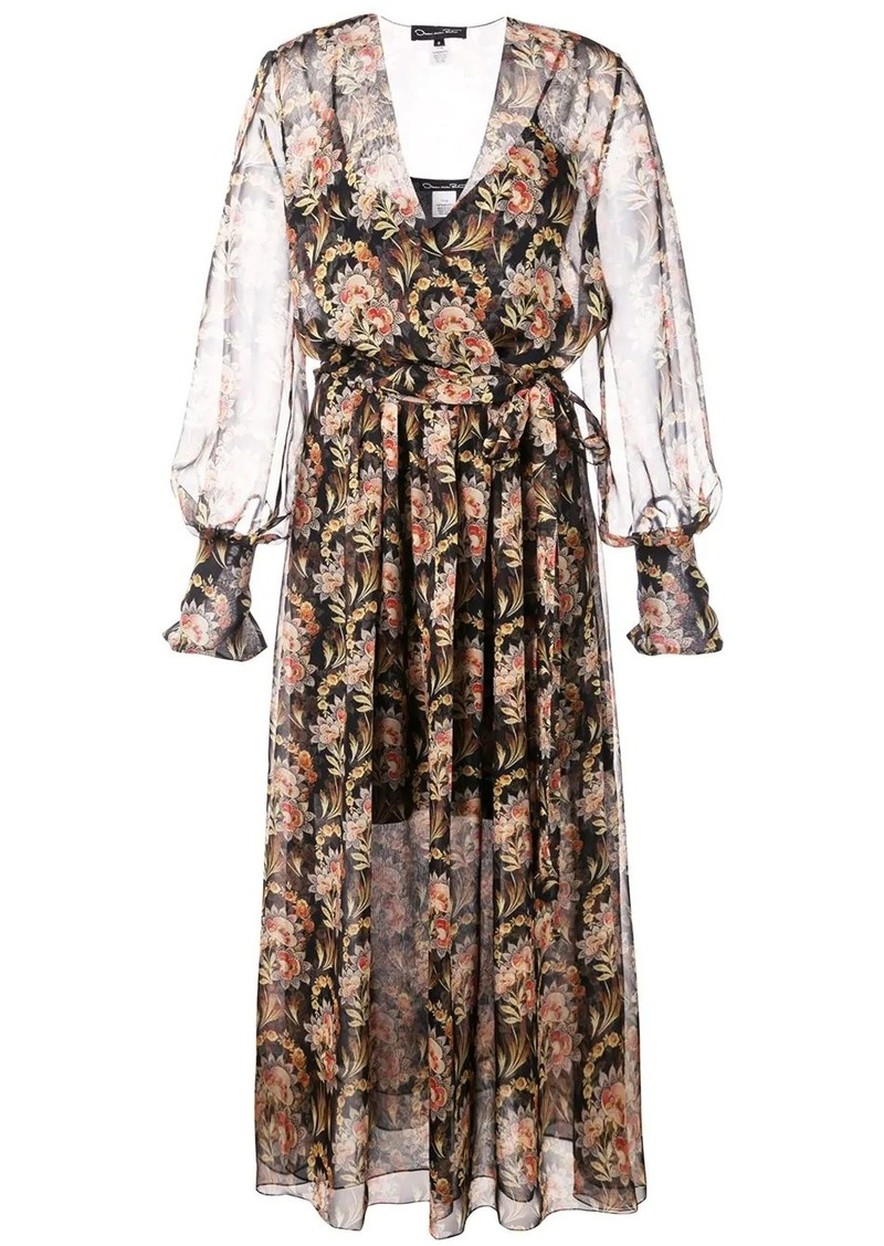 Oscar de la Renta floral wrap-around dress