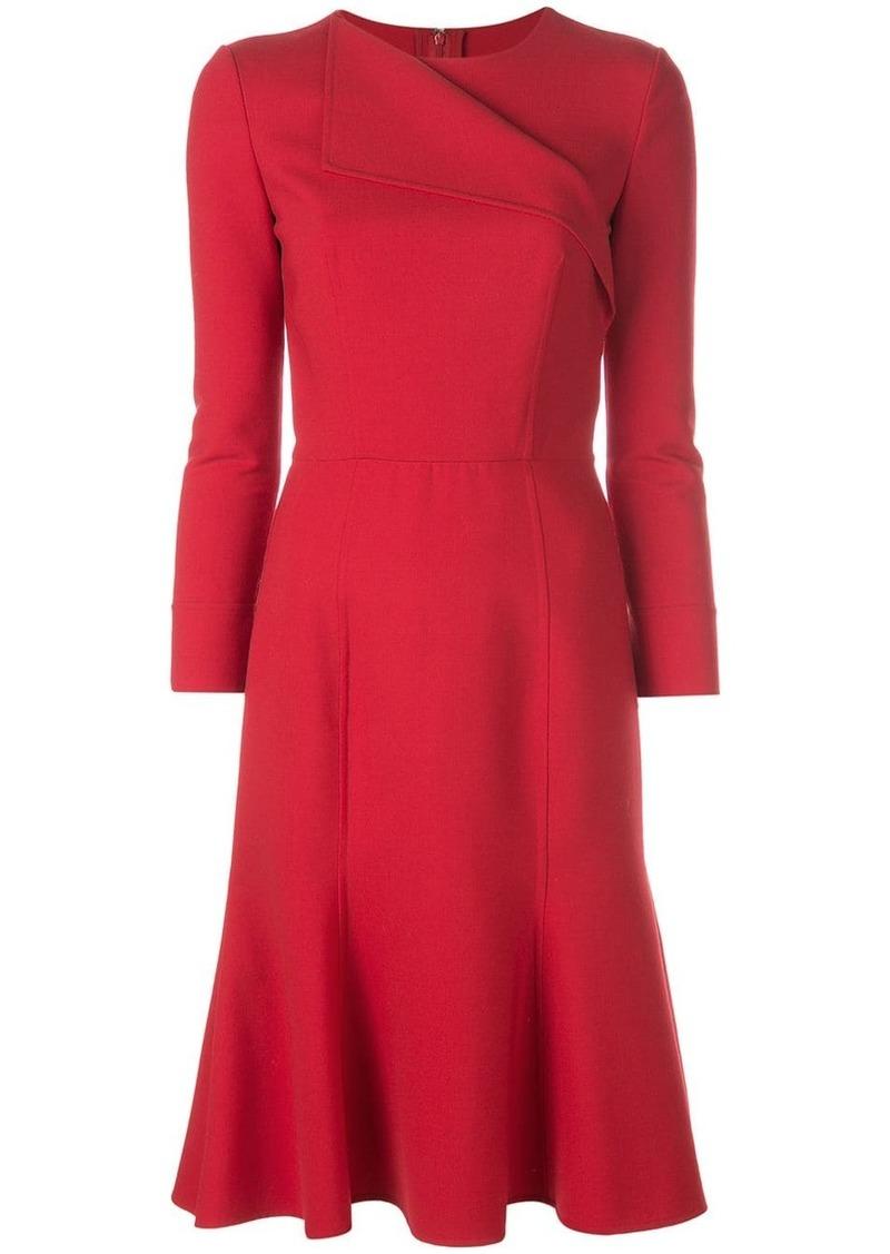 Oscar de la Renta folded neck flared dress