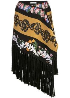 Oscar de la Renta fringed asymmetric skirt