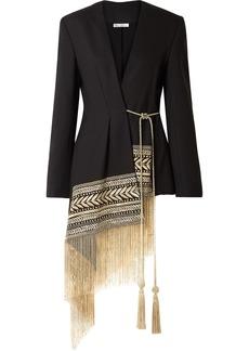 Oscar de la Renta Fringed Embroidered Wool-blend Twill Wrap Jacket