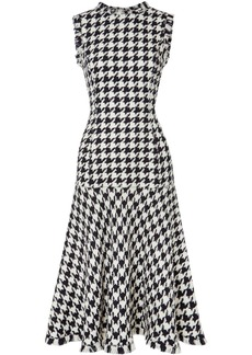Oscar de la Renta Fringed Houndstooth Wool-blend Tweed Dress