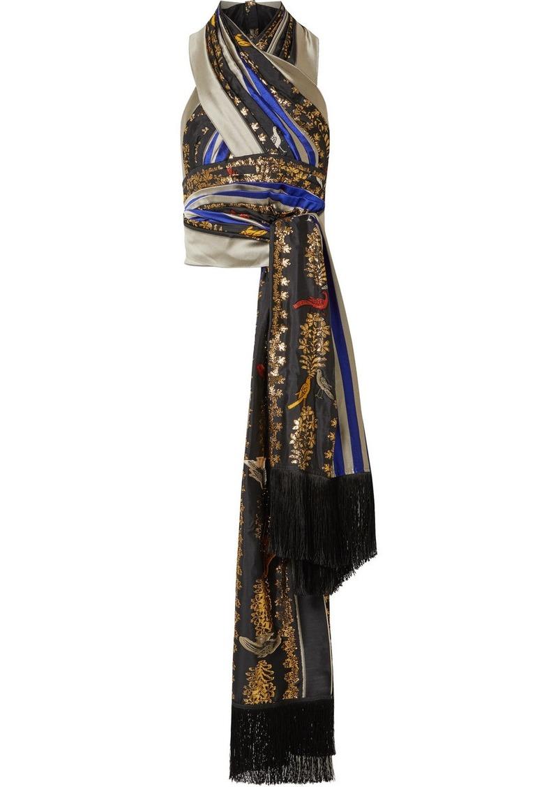 Oscar de la Renta Fringed Pleated Metallic Fil Coupé Silk Halterneck Top
