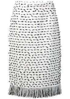 Oscar de la Renta fringed ribbon tweed skirt