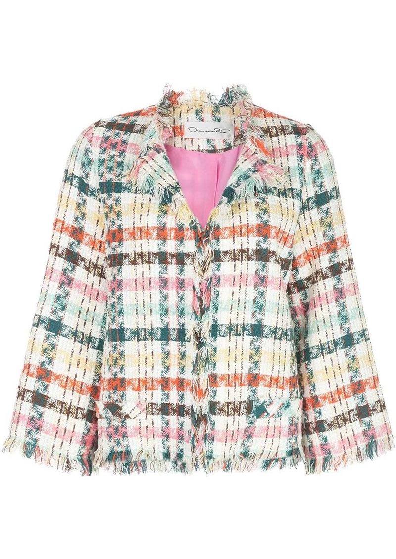Oscar de la Renta fringed tweed jacket