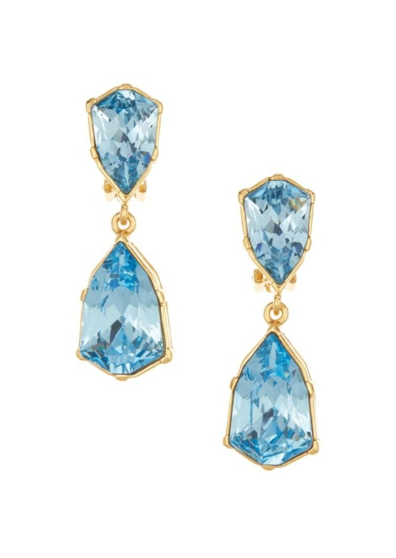 Gallery-Set Crystal Double-Drop Clip-On Earrings