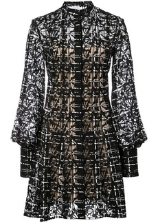 Oscar de la Renta geometric-lace flared shirt dress