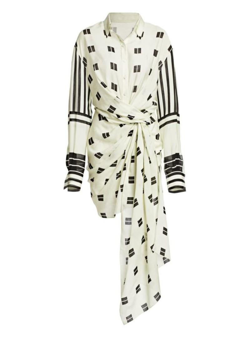 Oscar de la Renta Geometric-Print Tie-Waist Shirt Dress