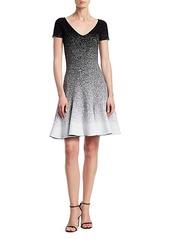 Oscar de la Renta Glitter Ombré V-Neck Short-Sleeve A-Line Flounce Dress