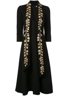 Oscar de la Renta gold leaf embroidered dress