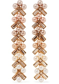 Oscar de la Renta Gold-plated, Faux Pearl And Crystal Earrings