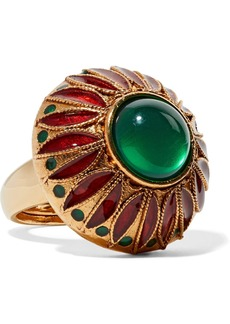 Oscar de la Renta Gold-tone And Resin Ring