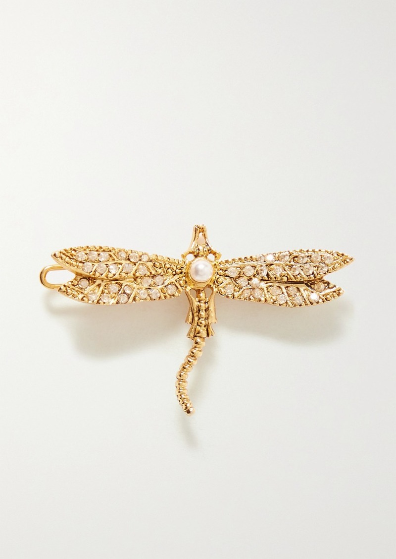 Oscar de la Renta Gold-tone Crystal And Faux Pearl Hair Clip