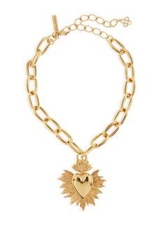 Oscar de la Renta Goldtone Sacred Heart Pendant Necklace