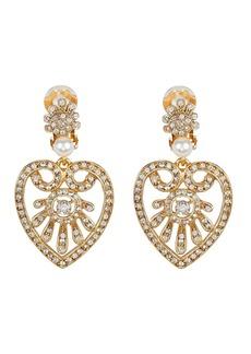 Oscar de la Renta Heart Drop Crystal-Embellished Earrings