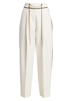 Oscar de la Renta High-Waist Chain Wool-Blend Pants