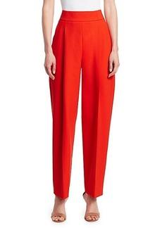 Oscar de la Renta High-Waist Pleated Wool-Blend Pants