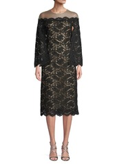 Oscar de la Renta Illusion Long Sleeve Lace Dress