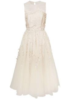 Oscar de la Renta illusion neck fern embellished sleeveless dress