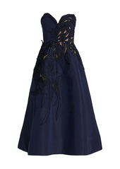 Oscar de la Renta Illusion Panel Sweetheart Neckline Cocktail Dress