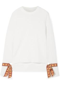 Oscar de la Renta Jacquard-trimmed Merino Wool And Silk-blend Sweater