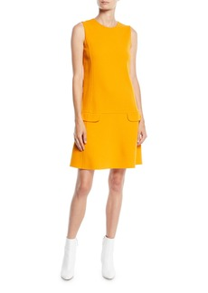 Oscar de la Renta Jewel-Neck Sleeveless Belted Shift Wool-Blend Short Daytime Dress