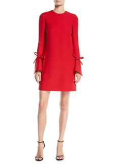 Oscar de la Renta Jewel-Neck Vented Bow-Cuffs A-Line Crepe Wool-Silk Mini Day Dress