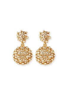 Oscar de la Renta Jeweled Flower Drop Earrings