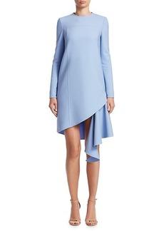 Oscar de la Renta Jewelneck Short Asymmetric Dress