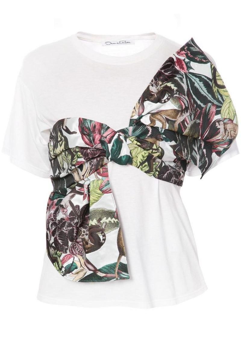 Oscar de la Renta jungle print tie front T-shirt
