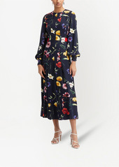 Oscar de la Renta knife-pleat floral-print midi dress