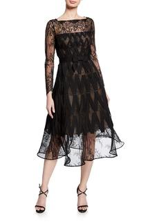 Oscar de la Renta Lace Illusion Long-Sleeve A-Line Dress