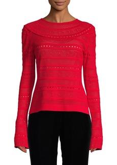 Oscar de la Renta Lace Stitch Pullover