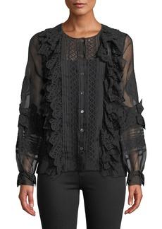 Oscar de la Renta Lace-Trim Balloon-Sleeve Silk Shirt