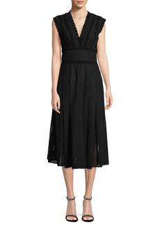 Oscar de la Renta Lace-Trimmed Eyelet Tea-Length Dress