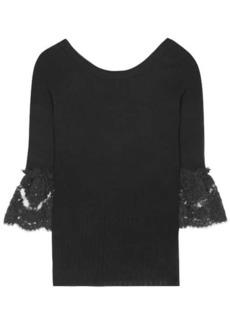 Oscar de la Renta Lace-trimmed knitted wool sweater