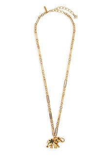 Oscar de la Renta Large Elephant Goldtone Swarovski Crystal Necklace